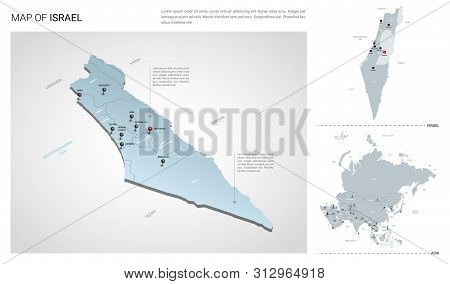 Vector Set Of Israel Country.  Isometric 3d Map, Israel Map, Asia Map - With Region, State Names And
