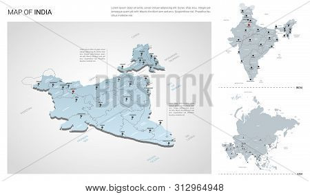 Vector Set Of India Country.  Isometric 3d Map, India Map, Asia Map - With Region, State Names And C