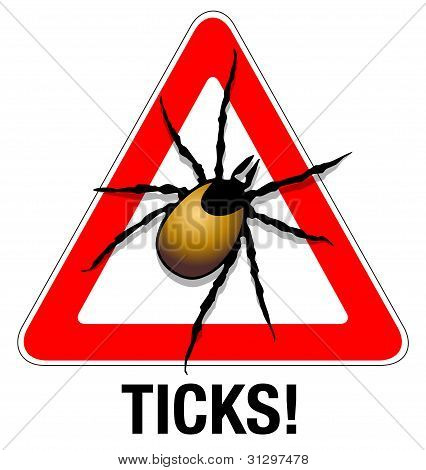 Abstract illustration of a tick warning sign poster