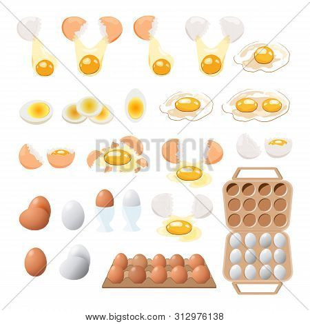 Food Icon. Chicken Boiled,broken And Raw Eggs Brown And White Color.an Egg In The Shell And Box ,hal