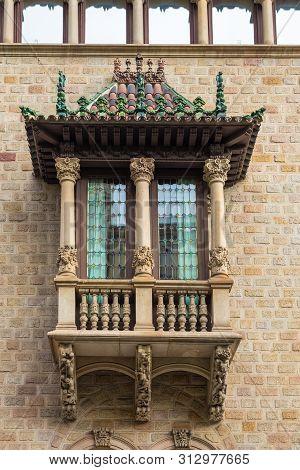 Barcelona, Spain- 10 November 2014: The Decorative Balcony Has A City Office Building At Rambla At C