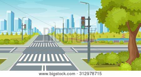 City Road With Crossroads Traffic Lights. City Highway Vector Illustration