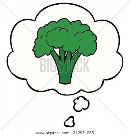cartoon brocoli with thought bubble