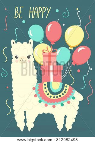 Happy Birthday Greeting Card With Cute Llama Or Alpaca, Bright Balloons And Giftboxes. Vector Illust