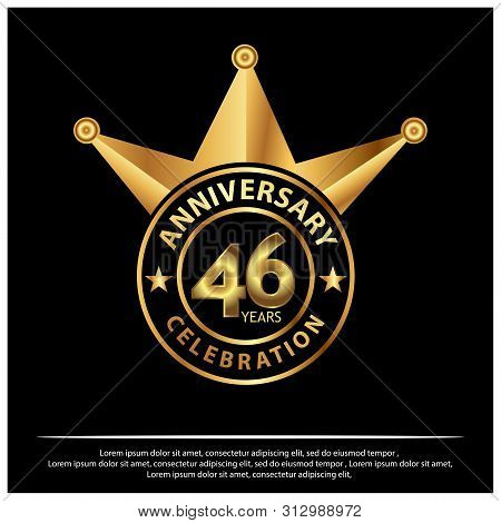 46 Years Anniversary Golden. Anniversary Template Design For Web, Poster, Booklet, Leaflet, Flyer