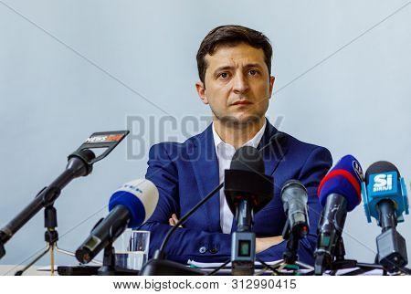 President Of Ukraine Volodymyr Zelenskyy At A Briefing During A Working Visit In Uzhgorod, Ukraine.