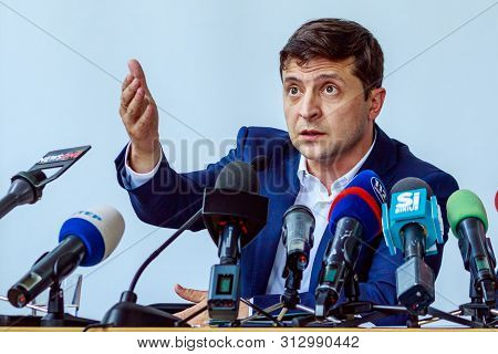 President Of Ukraine Volodymyr Zelenskyy At A Briefing During A Working Visit In Uzhgorod, Ukraine.