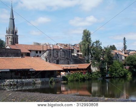 France Cantal: Houses Along The River In Aurillac