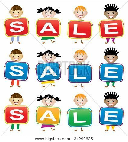 Vector Children Holding Cards With Letters