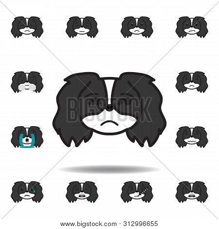 Pekingese Emoji Insecure Multicolored Icon. Set Of Pekingese Emoji Illustration Icons. Signs, Symbol