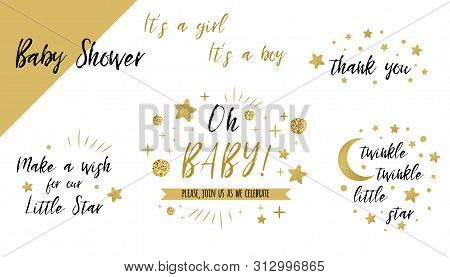 Baby Shower Set Gold Templates Twinkle Twinkle Little Star Text Oh Baby Glitter Star Invtation Thank