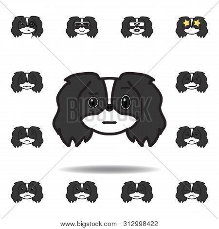 Pekingese Emoji Unsure Multicolored Icon. Set Of Pekingese Emoji Illustration Icons. Signs, Symbols