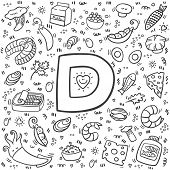 Vitamin D doodles. Hand drawn illustration of different food rich of vitamin D. Set of food with Vitamin D. Vector illustration. Fish, shrimp, shiitake, mushrooms, eggs, dairy, squid. poster