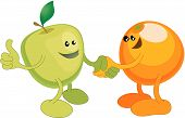 A conceptual vector illustration of an apple and orange shaking hands. Opposites attract or different but equal or perhaps a diverse partnership. poster
