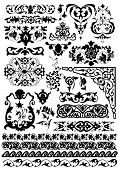 set of beauty vector floral design elements poster