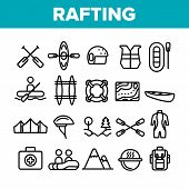 Rafting Trip, Sport Linear Icons Set. Rafting, Kayaking Thin Line Contour Symbols Pack. Outdoor Activity, Adrenaline Chase Pictograms Collection. Extreme Summer Recreation Outline Illustrations poster
