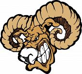 Angry Cartoon Ram Mascot Head with Horns poster