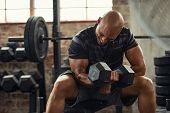 Muscular guy lifting dumbbell while sitting on bench at gym. Mature african athlete using dumbbell during workout. Strong man under physical exertion pumping up bicep muscle with heavy weight. poster