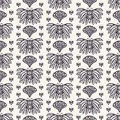 Art Nouveau ornamental butterfly motif Jugendstil style. Vector seamless pattern. Arabesque damask textile swatch. Decorative arts crafts folk art home decor. Modernist monochrome bug all over print. poster