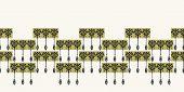 Art Nouveau ornamental flower motif border. Jugendstil style ribbon trim. Retro floral damask textile tape. Decorative arts crafts folksy home decor. Modernist trendy monochrome. Vector seamless edge poster