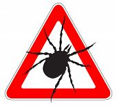 Illustration of a single tick warning sign poster