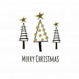 Christmas Card With Text Merry Christmas And Christmas Trees. Figure Of Christmas Trees On A White B