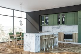 Green And Marble Kitchen, Bar And Table