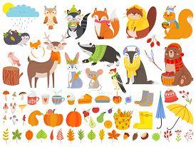 Autumn Forest Animals. Fall Squirrel, Funny Bear And Cute Autumnal Fox. Fallen Leaves, Deer Bear Rac
