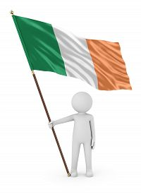 Irish Patriot Stickman Holding National Flag Of The Ireland 3d Illustration On White Background