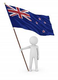 Kiwi Patriot Stickman Holding National Flag Of The New Zealand 3d Illustration On White Background