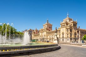 Valladolid,spain - May 13,2019 - View At The Building Of Cavalry Academy From Zorrilla Place In Vall