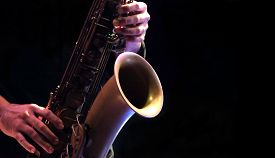 Jazz Musician Playing The Saxophone Jazz Music Instruments.