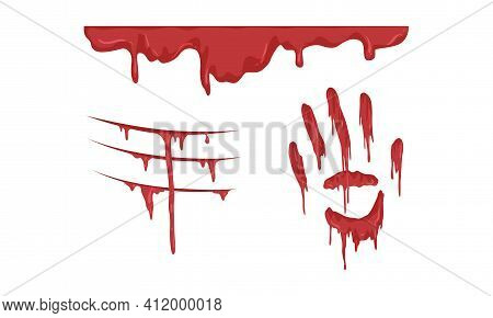 Splatters, Smears And Drops Of Red Ink Paint Set, Bloody Hand Prints And Stains Cartoon Vector Illus