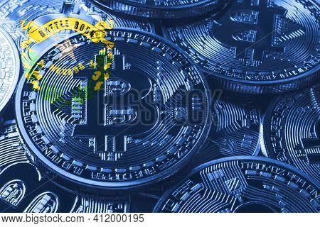 Nevada Bitcoin Flag, Nevada Cryptocurrency Concept Background