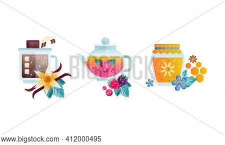 Herbal Tea Collection, Glass Transparent Cups Of Healthy Aroma Drink, Cocoa, Tea, Homey Jar Flat Vec