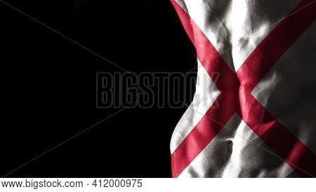 Alabama Flag On Abs Muscles, Alabama Bodybuilding Concept, Black Background