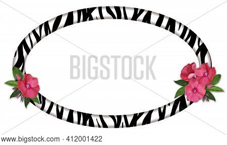 Horizontal Oval Frame Made Of Zebra Skin And Delicate Bouquets Of Pink Flowers On The Sides.