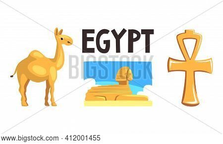 Famous Symbols Of Ancient Egypt, Sphinx Statue, Ankh Cross, Camel Cartoon Vector Illustration