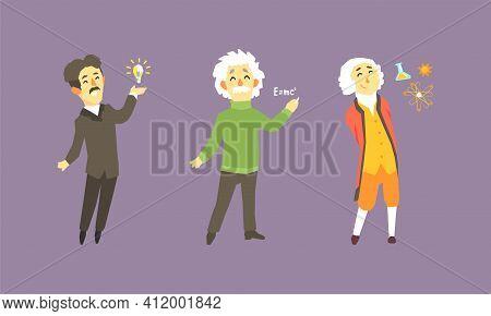 Famous Scientist Set, Thomas Edison, Isaac Newton, Albert Einstein Vector Illustration