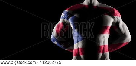 Ohio Flag On Muscled Male Torso With Abs, Ohio Bodybuilding Concept, Black Background