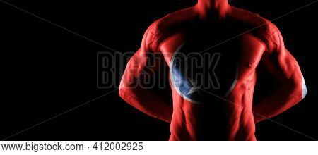 Tennessee Flag On Muscled Male Torso With Abs, Tennessee Bodybuilding Concept, Black Background