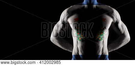 West Virginia Flag On Muscled Male Torso With Abs, West Virginia Bodybuilding Concept, Black Backgro