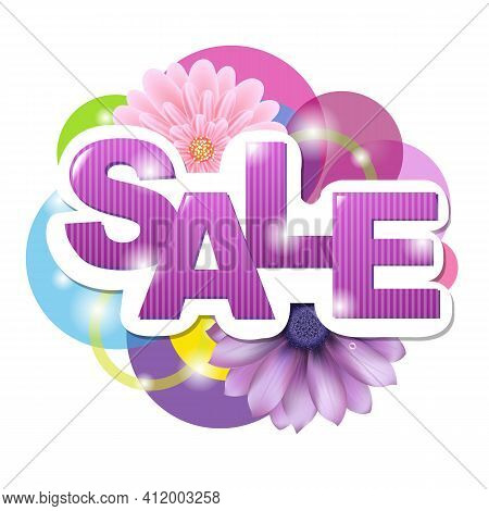 Sale Poster With Gerber, Isolated On White Background, Vector Illustration