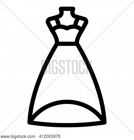 Party Wedding Dress Icon. Outline Party Wedding Dress Vector Icon For Web Design Isolated On White B