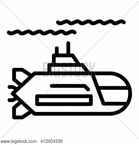 Submarine Icon. Outline Submarine Vector Icon For Web Design Isolated On White Background