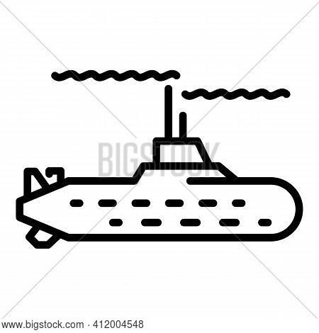 Water Submarine Icon. Outline Water Submarine Vector Icon For Web Design Isolated On White Backgroun