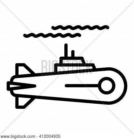 Sail Submarine Icon. Outline Sail Submarine Vector Icon For Web Design Isolated On White Background