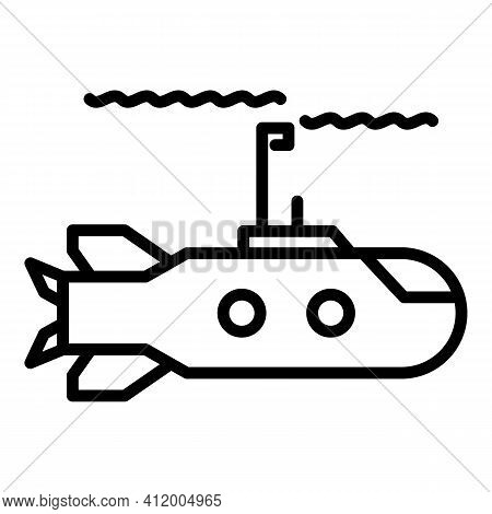 Submarine Weapon Icon. Outline Submarine Weapon Vector Icon For Web Design Isolated On White Backgro