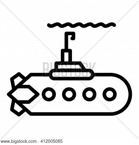 Steel Submarine Icon. Outline Steel Submarine Vector Icon For Web Design Isolated On White Backgroun