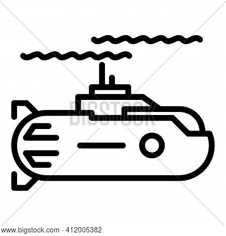 Nuclear Submarine Icon. Outline Nuclear Submarine Vector Icon For Web Design Isolated On White Backg